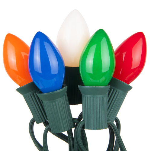 """C7 Red Opaque Steady 25 Light Set, Green Wire, 12"""" Spacing"""