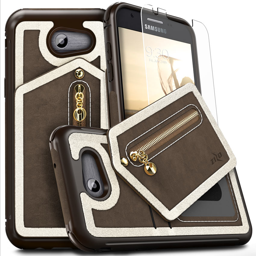 Zizo NEBULA Wallet Series compatible with Samsung Galaxy J3 Emerge Case with Tempered Glass Screen Protector Leather Folio Card Slots