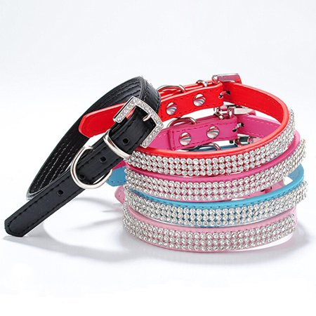 Girl12Queen 3 Row Bling Rhinestone Small Pet Dog Faux Leather Buckle Cute Cat Puppy Collar