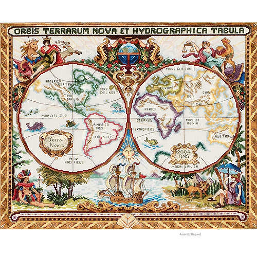 Janlynn Platinum Collection Counted Cross Stitch Kit, Olde World Map