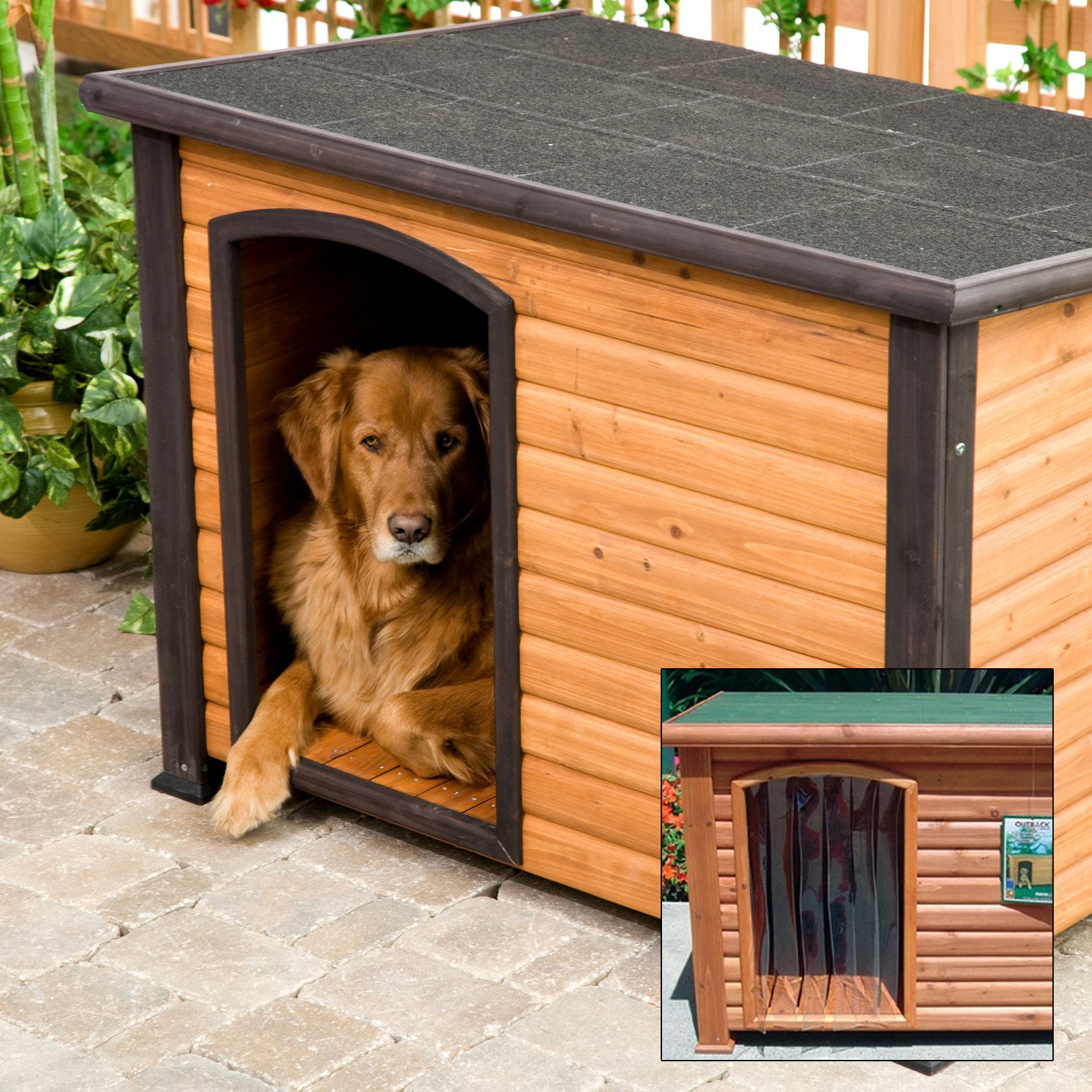 Precision Extreme Outback Log Cabin Dog House with FREE Dog Door - Walmart.com & Precision Extreme Outback Log Cabin Dog House with FREE Dog Door ...