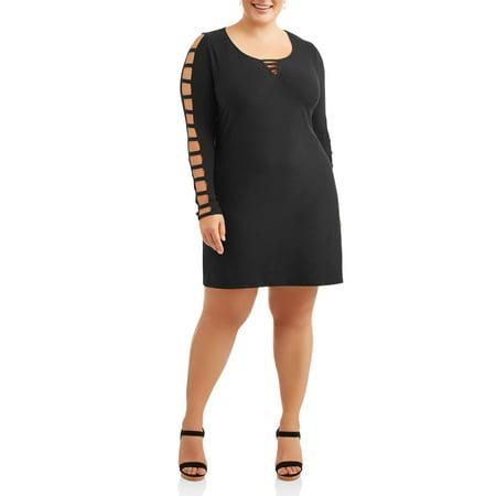 Women's Plus Long Sleeve Ladder Bar Front Little Black Dress