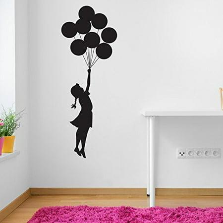Flying Balloon Girl Banksy Wall Decal - Wall Sticker, Vinyl Wall Art, Wall Applique, Home Decor Mural - B1018 - 39in x 107in -