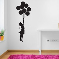 Flying Balloon Girl Banksy Wall Decal - Wall Sticker, Vinyl Wall Art, Wall Applique, Home Decor Mural - B1018 - 39in x 107in - Pink