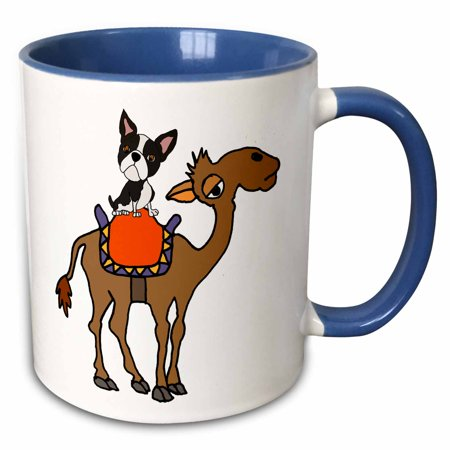 3dRose Cute Funny Boston Terrier Dog Riding Camel Cartoon - Two Tone Blue Mug, 11-ounce