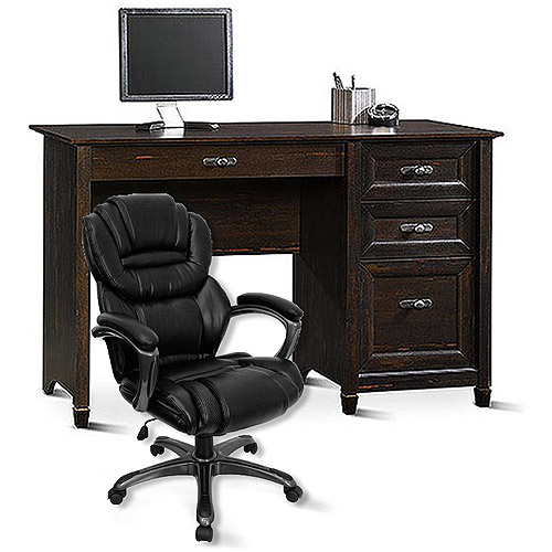 Sauder New Cottage Desk and Flash Furniture Leather Executive Office Chair Value Bundle
