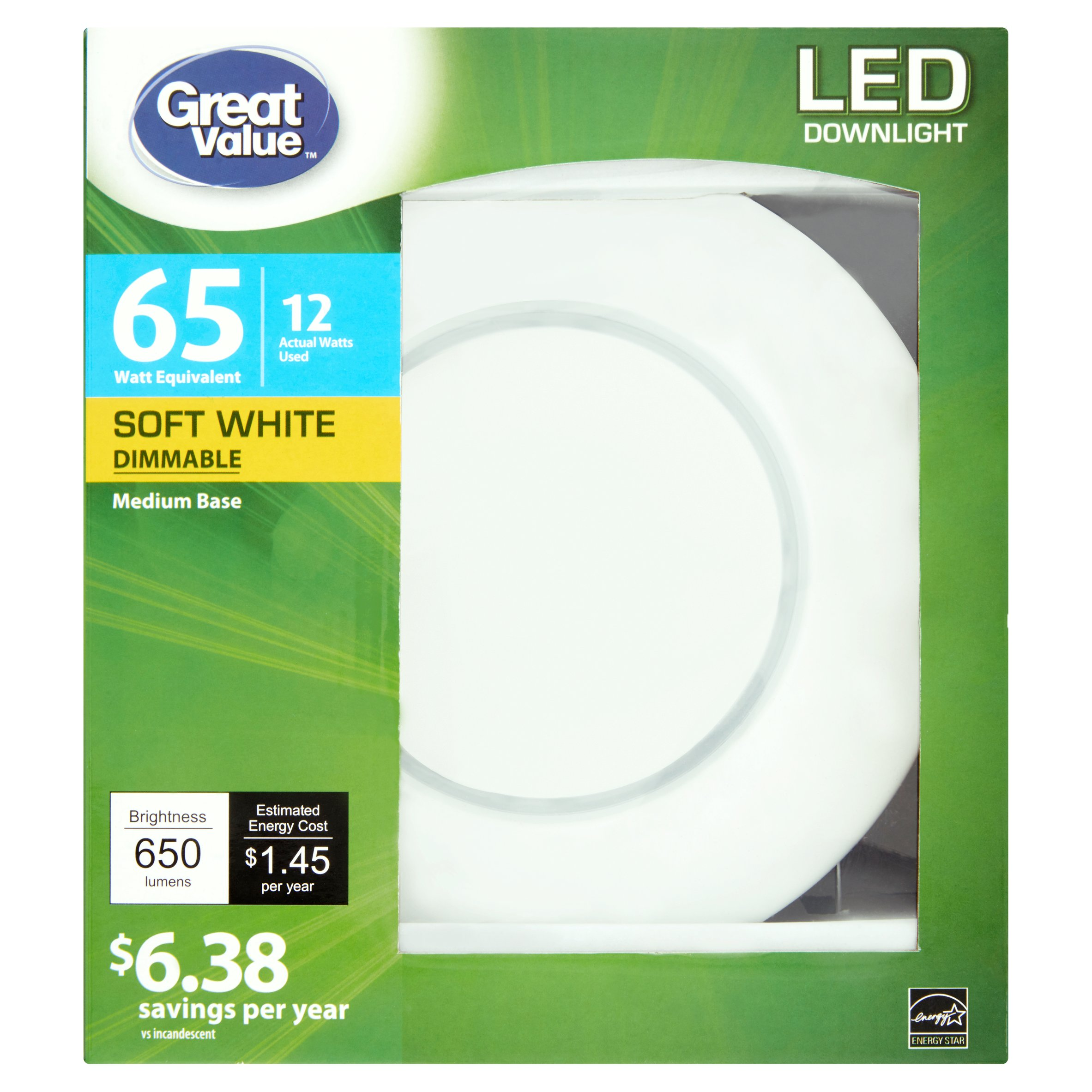 Great Value LED Dimmable Downlight (E26) Light Bulb, 12W (65W Equivalent), Soft White