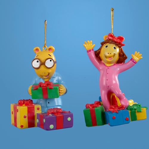 """Club Pack of 12 Arthur and DW with Presents Christmas Ornaments 3"""""""