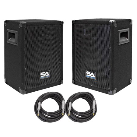 seismic audio pair of 8 dj speakers and 20 39 speaker cables 8 band karaoke loudspeakers sa. Black Bedroom Furniture Sets. Home Design Ideas