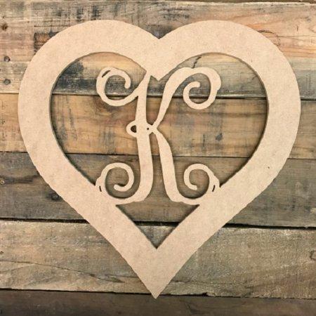 Wooden Heart Monogram Letter K, 12'' Wooden Monogram Shape ()