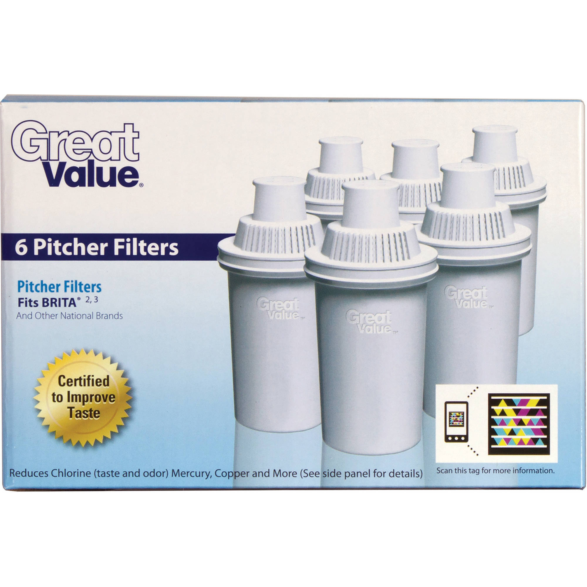 Great Value Pitcher Cartridge, 6-Pack