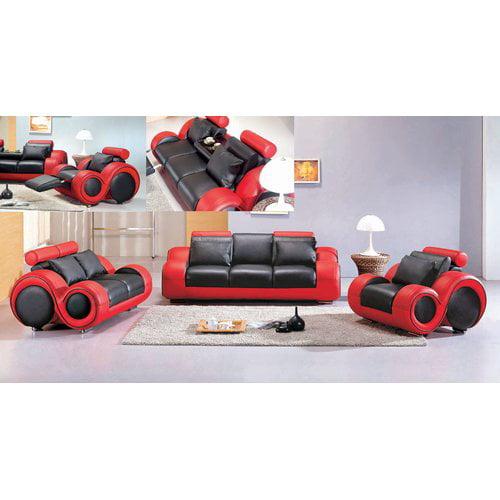 Hokku Designs Hematite 3 Piece Leather Living Room Set by
