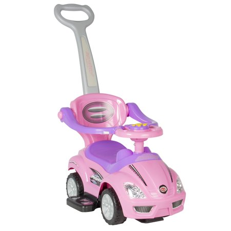 Best Choice Products Kids 3-in-1 Push and Pedal Car Toddler Ride On w/ Handle, Horn, Music, Pink