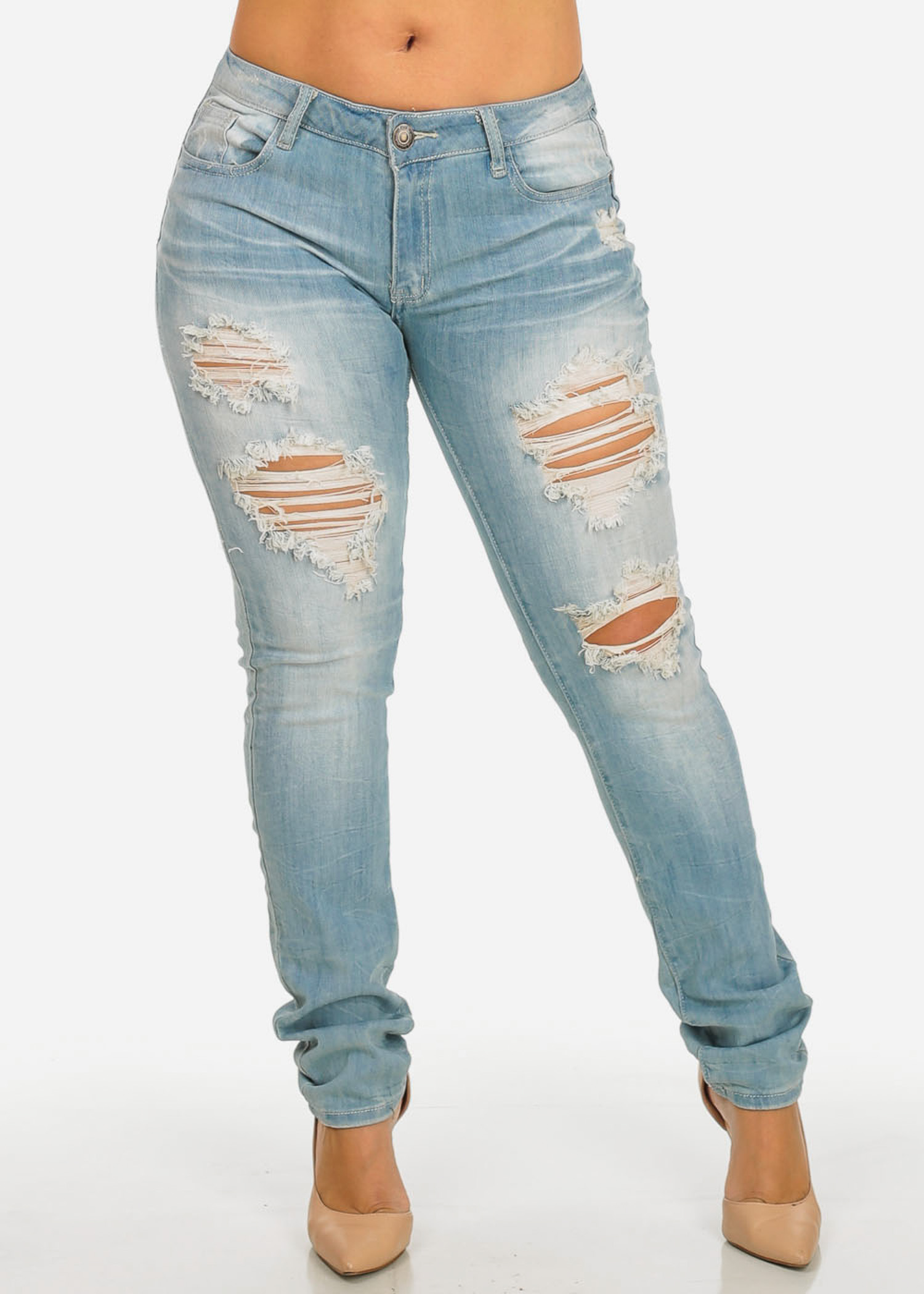 Womens Juniors Plus Size Mid Waist Light Wash Distressed Design Denim Jeans 10262J