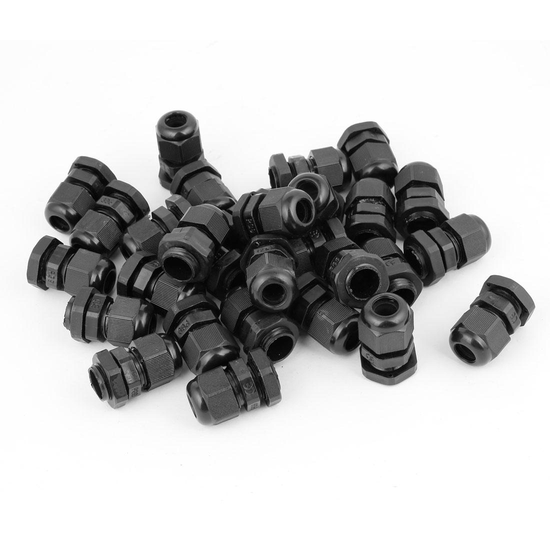Unique Bargains 36 x Black Plastic 15.5mm Thread Cable Glands Adapter Joint PG9