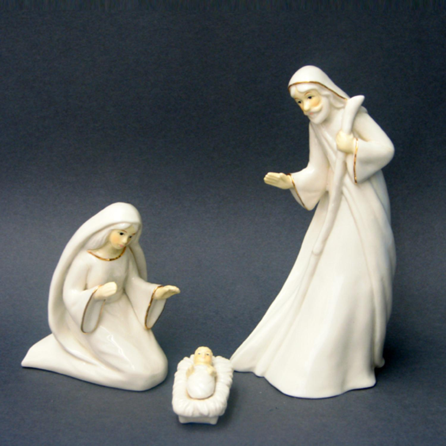 Set of 3 Porcelain Religious Holy Family Christmas Nativity Figures