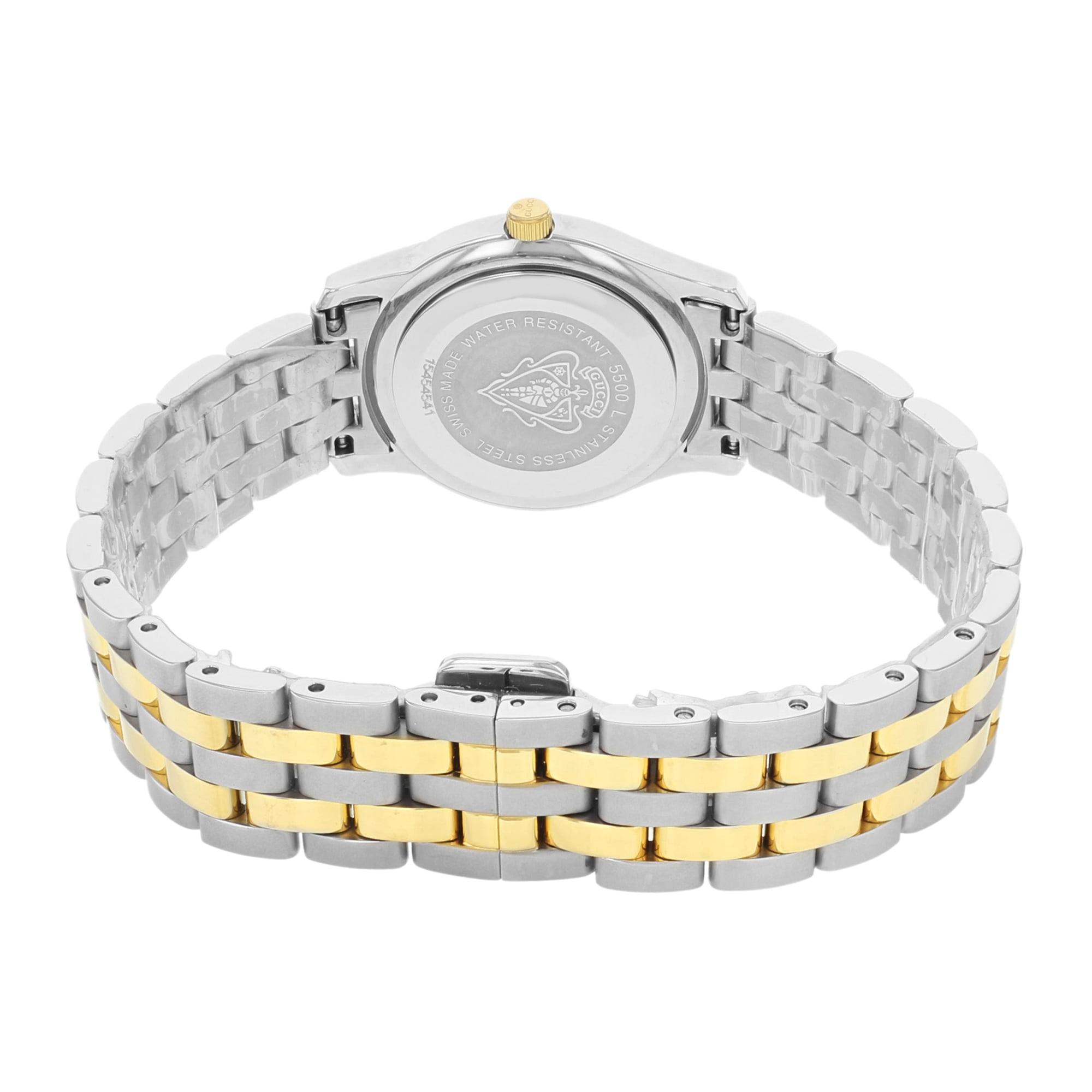 98fd0a83b59 Gucci - Pre-Owned Gucci 5500L White Dial Two Tone Stainless Steel Quartz  Ladies Watch YA055528 - Walmart.com