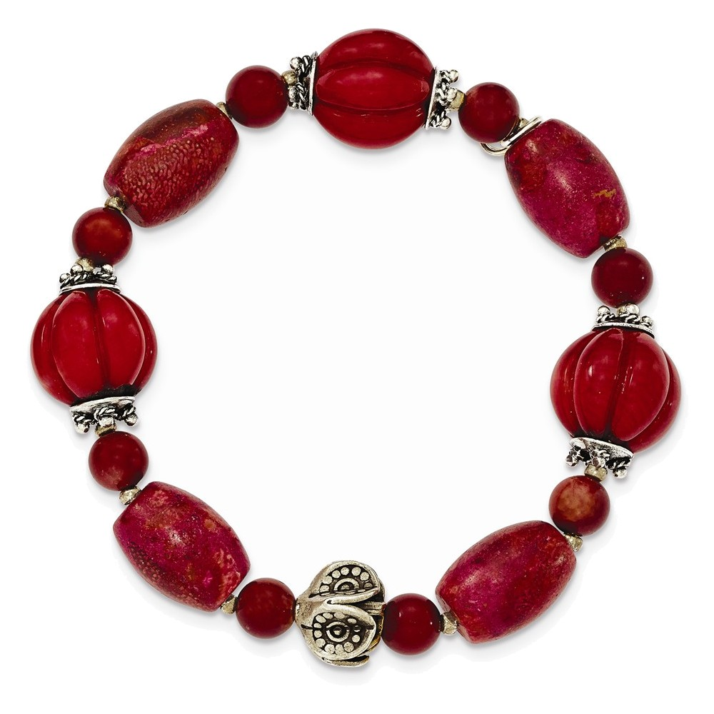 Sterling Silver Antiqued Beads & Red Coral Stretch Bracelet by