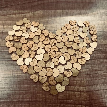 100pcs Rustic Wooden Wood Love Heart Wedding Table Scatter Decoration Crafts - Woody Decorations