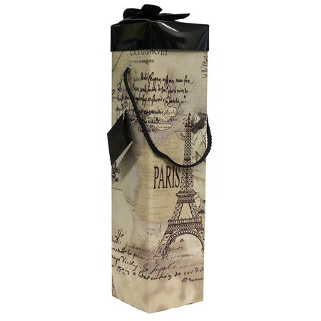 - Wine Gift Box - Reusable Caddy - Easy to Assemble - No Glue Required - Gift Tag and Ribbon Included - Eiffel Tower Paris Design - Medoc Collection - EZ Wine Gift Box By Endless Art US