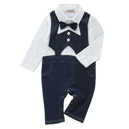 StylesILove Baby Boy Tuxedo Faux Suspender Romper and Bib Vest 2-Piece (3-6 Months)