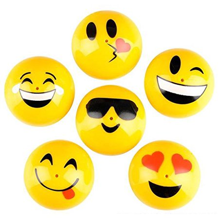 6 HUGE EMOJI JUMPING RUBBER PARTY POPPERS BY, 6 HUGE 1.75