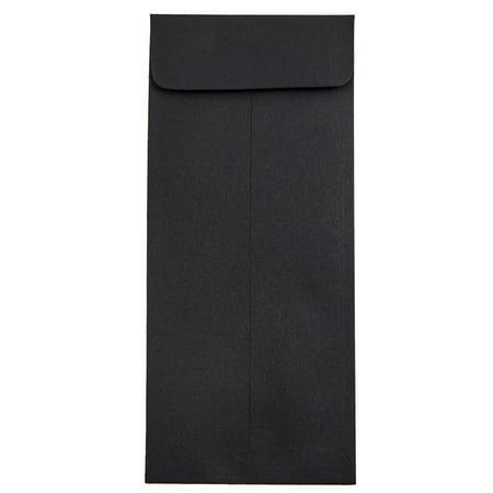 JAM Paper #10 Open End Policy Envelopes, 4 1/8 x 9 1/2, Black Linen, 50/pack
