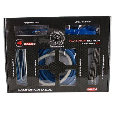 Bullz Audio 4 Gauge 3000W Professional Car Amplifier Wiring Amp Kit Blue BPE4BL