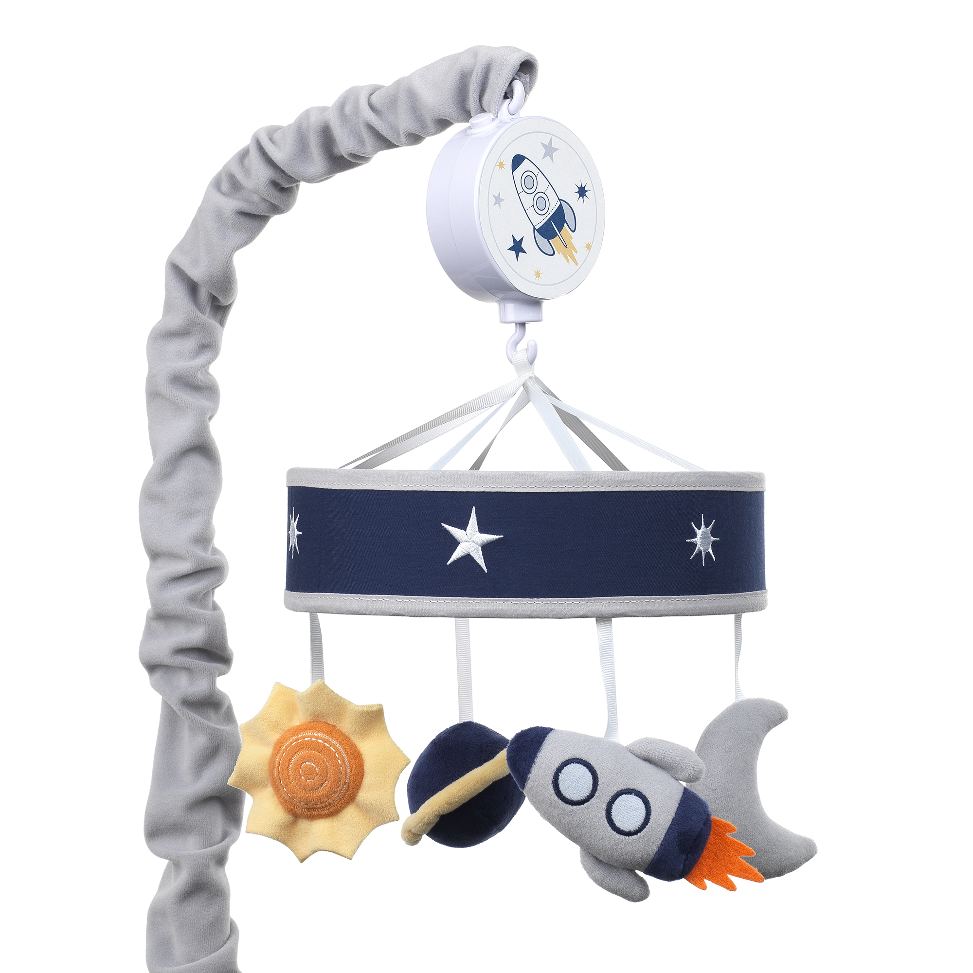 Lambs & Ivy Milky Way Musical Baby Crib Mobile - Blue, Gray, Modern, Celestial