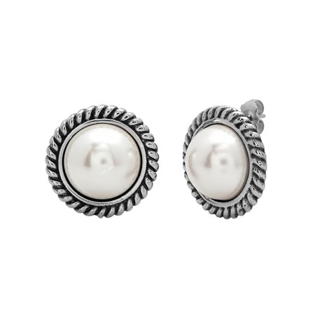 Women's Stainless Steel Sophisticated White Faux Finish Stud Earrings