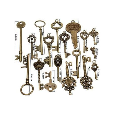 18Pcs Vintage Bronze Skeleton Keys Lock Antique Old Look Steampunk Pendent Present Christmas Gift