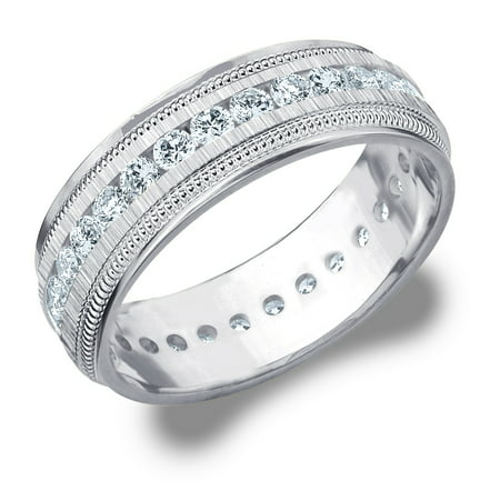- 1 CTTW Diamond Men's Wedding Band in White Gold, 1 Carat Diamond Eternity Ring