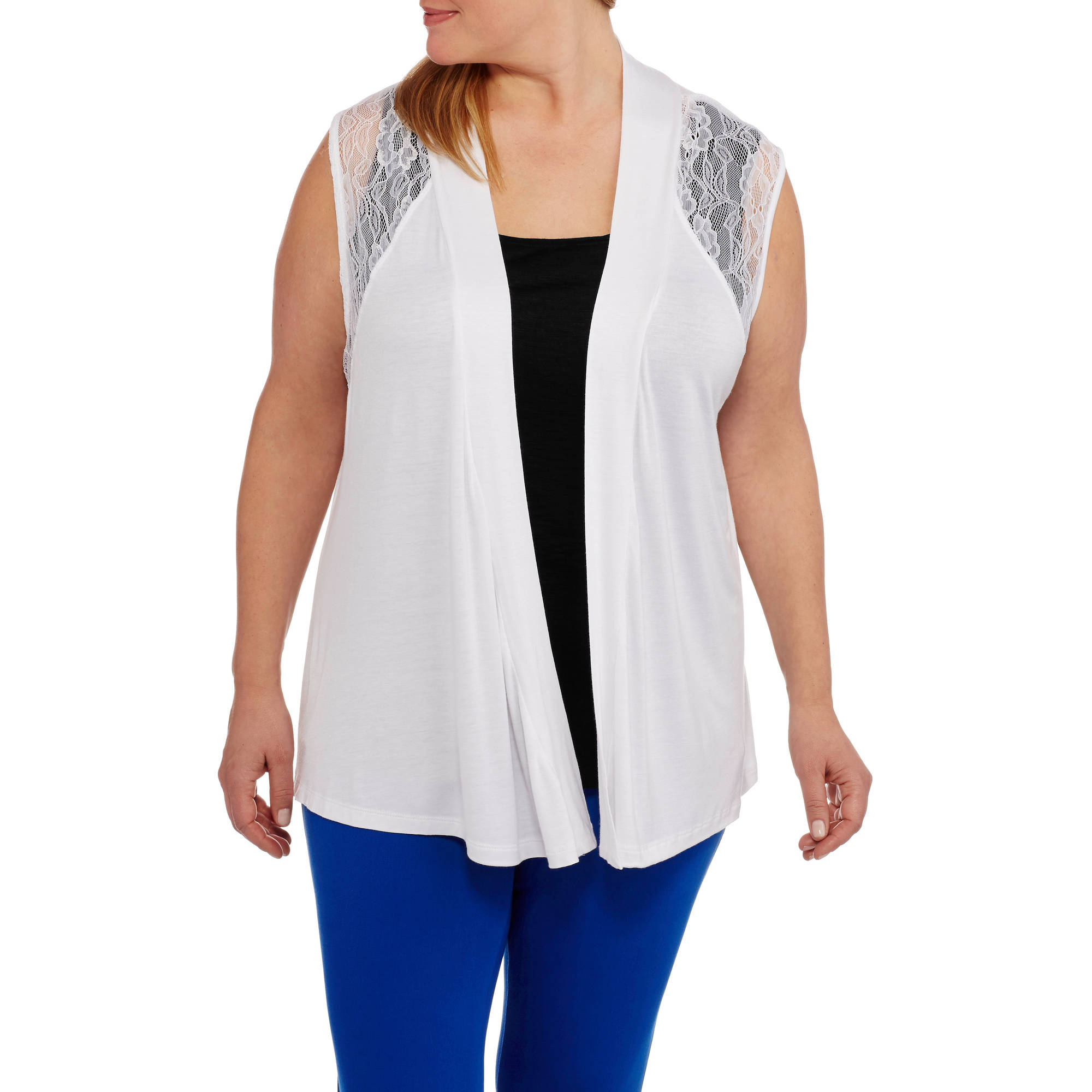 Extra Touch Women's Plus Sleeveless Vest with Lace Panel Sweater