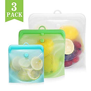 Reusable Silicone Food Bag 6 Pack Food Storage Bags Lunch Sandwich Storage Bags Containers BPA Free Reusable Freezer Bags Resealable Food Bags (1 Small + 1 Medium + 1 Large)