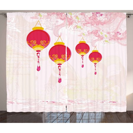 Lantern Curtains 2 Panels Set, New Year of Chinese Calendar Celebrations Eastern Imagery Abstract Asian Art, Window Drapes for Living Room Bedroom, 108W X 63L Inches, Hot Pink Yellow, by - Chinese New Year Celebration Ideas