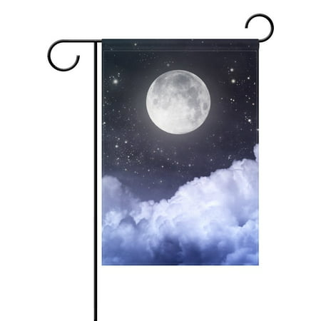 POPCreation Full Moon Sky Stars Garden Flag Summer Ocean Sea Sunset 28x40 inches Outdoor Flag Home (Flag With Crescent Moon And 5 Stars)