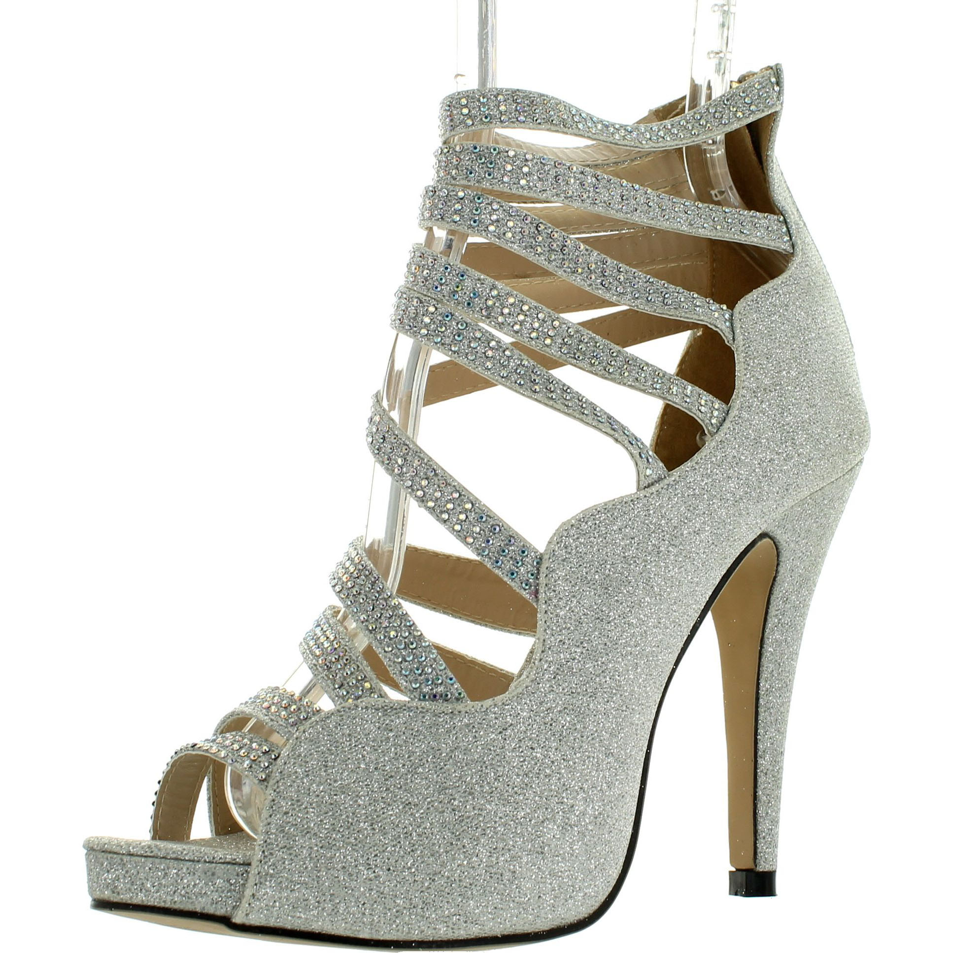 EYE CANDIE WINK-201 Women Glitter Multi Strappy Back Zipper Stiletto Heel Sandal