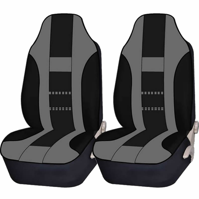 2 Piece Gray & Black High back Double Stitched Front Seat cover Universal Car Truck SUV