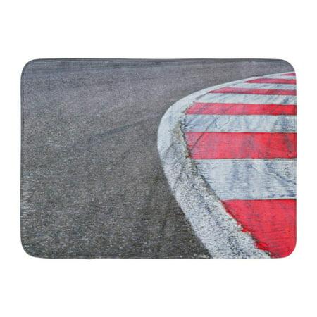 GODPOK Road Red Circuit Race Track Detail White Formula Car Rug Doormat Bath Mat 23.6x15.7 inch