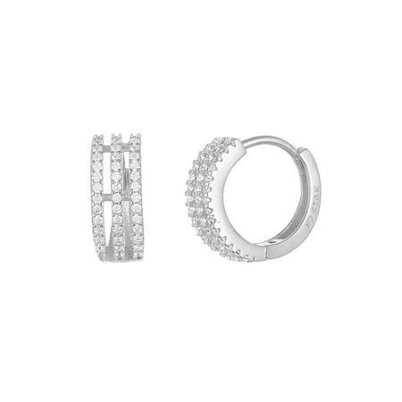 Lesa Michele Cubic Zirconia Sterling Silver Triple-Row Huggie Earrings