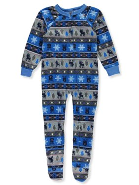 Quad Seven Boys' Holiday Print 1-Piece Footed Pajamas
