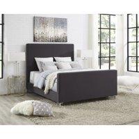 Alex Dark Grey Linen Bed Frame - Queen Size - Upholstered - Tufted