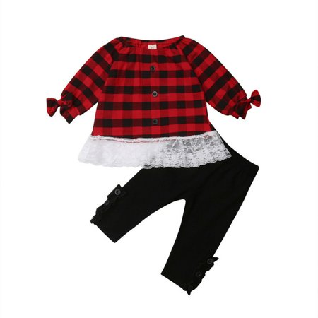 2pcs Toddler Baby Cotton Clothes Winter Fall Top+Pants Kid Girls Xmas Outfits ()