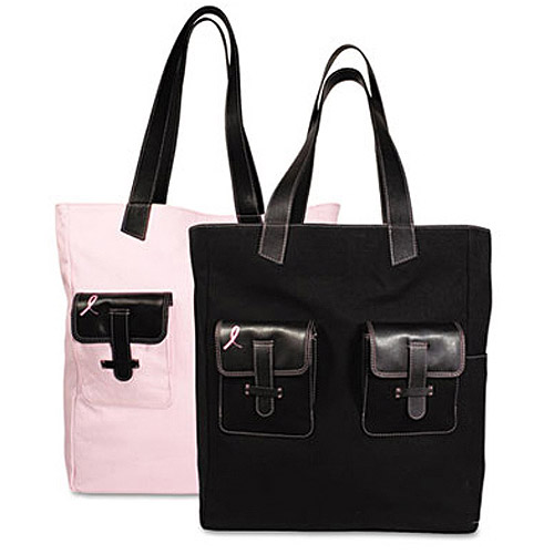 Day-Timer Pink Ribbon Canvas Tote, Reversible, Black/Pink