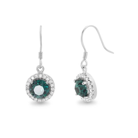 Emerald Swarovski Crystal Heart (Faceted Crystal Halo Hook Earring made with Swarovski)