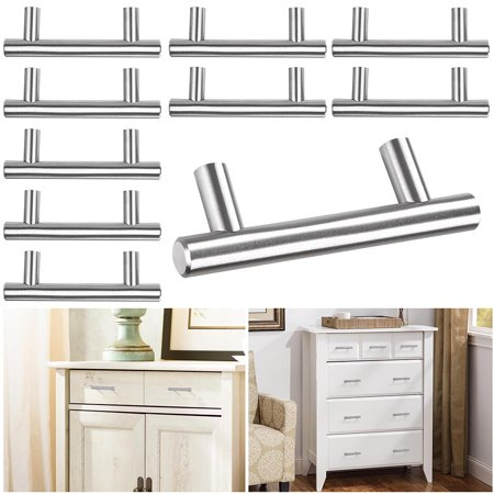 "Yescom 10-Pack 4""/6""/8"" T Bar Brushed Stainless Steel Kitchen Cabinet Door Handles Hole Center Cupboard Drawer Pulls"