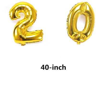 Clearance :40 Inch Gold Number 20th Balloon Party Festival Decorations Birthday Anniversary Jumbo Foil Balloons Party Supplies Photo Props - New Years Balloons
