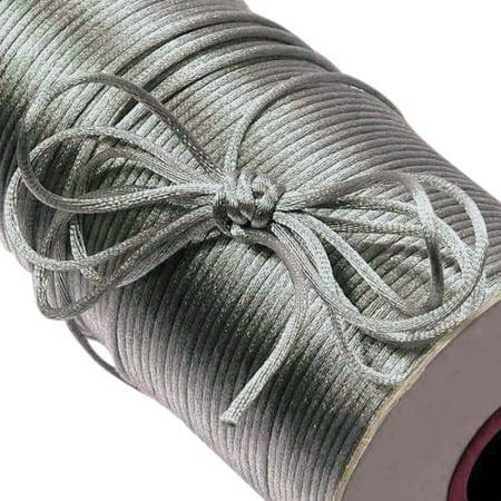 100 Yard 2mm Nylon SATIN CORD SILVER RatTail Rat Tail Crafts / Kumihimo Braiding