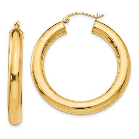 14K Yellow Gold 5 MM Round Tube Hoop Earrings MSRP $928
