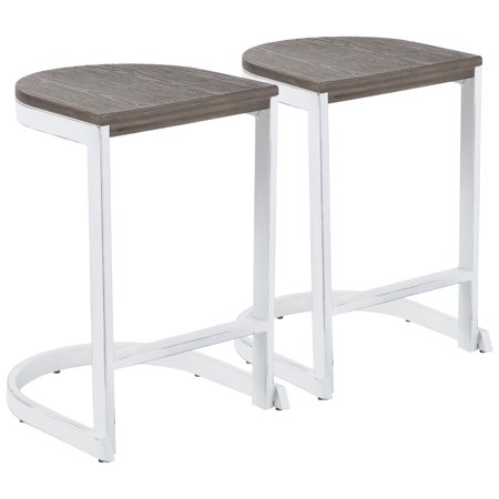 Industrial Demi Counter Stool in Vintage White and Espresso Wood-Pressed Grain Bamboo by LumiSource - Set of 2